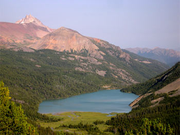 Trigger Lake, looking E, with Mt. Sheba in background left as seen from Mt. Warner