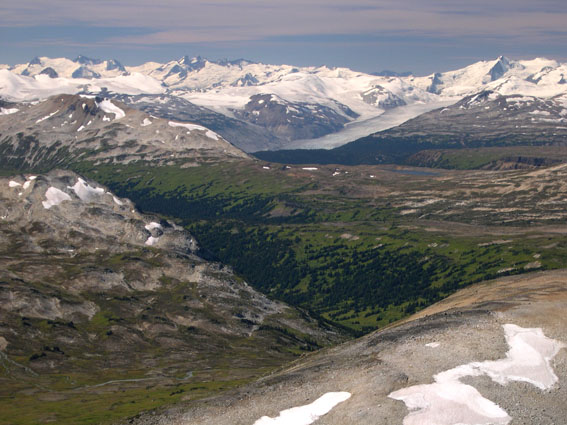 Looking to SW from 'Peak 8269' over 'Slim Pass' (lower left) and Nichols Creek valley to the Bridge Glacier