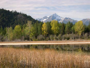 Pearson Pond in early fall with Mt. Sloan in the distance
