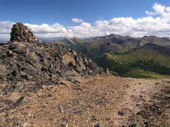 Big cairned Dash Hill (2514 m) overlooking Graveyard Creek drainage to the S