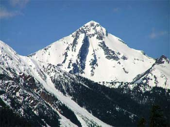 E face of pyramid shaped Dickson Peak (2813m) in late spring