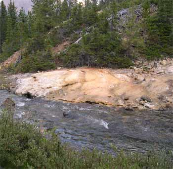 Tufa deposit alongside Lizard Creek in lower Lizard Creek valley