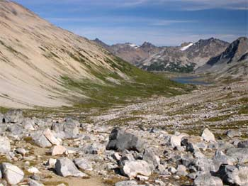 Glaciated hanging valley containing Leckie Lake with Leckie Range in background, as seen from Wolverine Pass area
