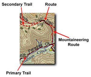Trail Ventures BC Southern Chilcotin Mountains Trail Map - GPS Based - hiking, backpacking, mountaineering, mountain biking, horeseback riding in the South Chilcotin - Chilcotin Trail Map Trail/Route Detail; Copyright: Trail Ventures BC Inc.