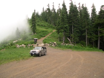 Trailhead for Liumchen Lake  Trail – no longer accessible by vehicle