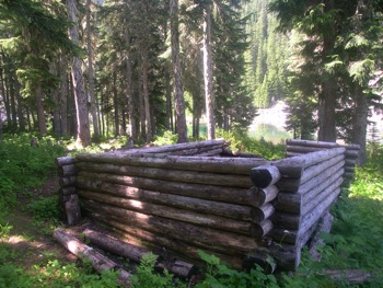 Cabin remains at 'Radium Lake' (thought to be built by miners)