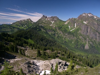 Cheam Peak (L), Lady Peak (centre) and Knight Peak (R)