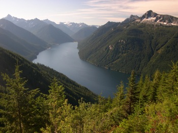 Chilliwack Lake as seen from Flora Lake Trail