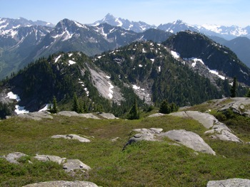 Mt. Meroniuk viewed from Paleface Mountain. Mt. Redoubt lies behind (centre)