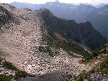 Coarse scree is very common in the alpine areas of the Skagit Range