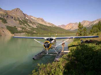 Charter floatplane service to Warner Lake increases the options for backpacking and mountain biking trips