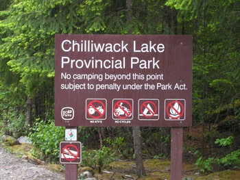 Chilliwack Lake Provincial Park sign