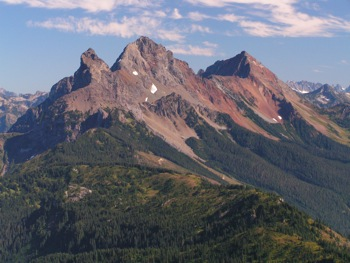 'Border Peaks': Canadian Border Peak on L, American Borer Peak at centre and Mt. Larrabee on R