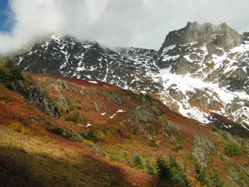 The autumn colors of meadow below the ramparts of 'Foley Peak-South' along the Williamson Lake Trail