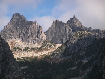 Impressive 'N. Nesakwatch Spire', 'S. Nesakwatch Spire' and Mt. Rexford (L to R)