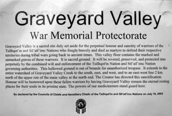 War Memorial Protectorate for the grave sites in Graveyard Valley