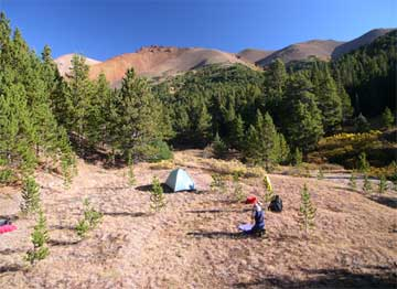 Camping in the upper Manson Creek basin