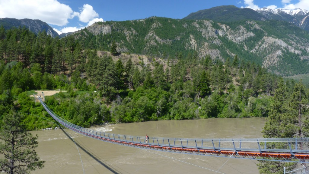 Suspension bridge over the Fraser River near the Stein River confluence