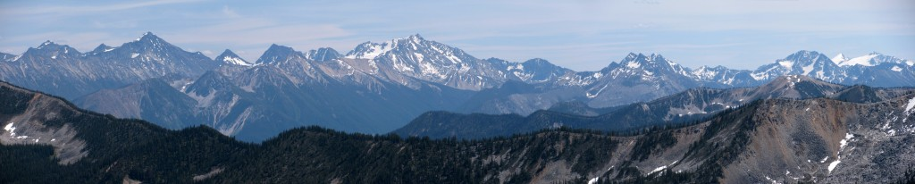 Mountain ranges of the Stein with Stein Mtn. near center (as seen from Blowdown Pass area)