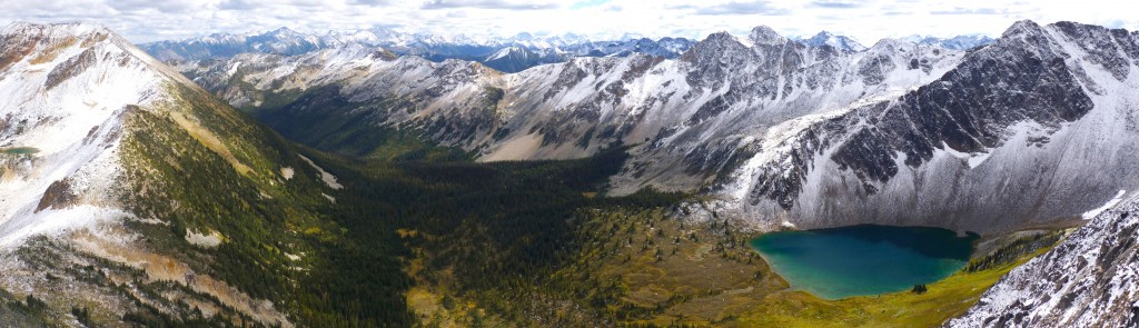 View from near 'Silent Hub' over Cirque Lake, the 'North Fork Scudamore Creek' and 'Notgott' peak on far left