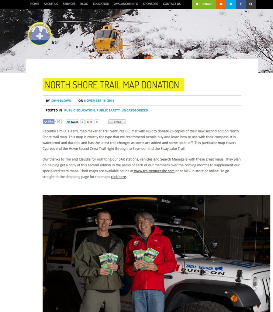 Donation of North Shore Trail Maps to North Shore Rescue